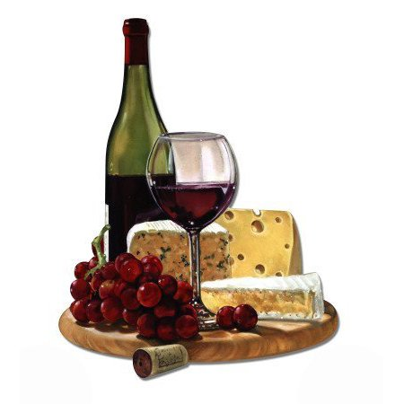 Wine And Cheese Gourmet Food Vinyl Sticker Waterproof