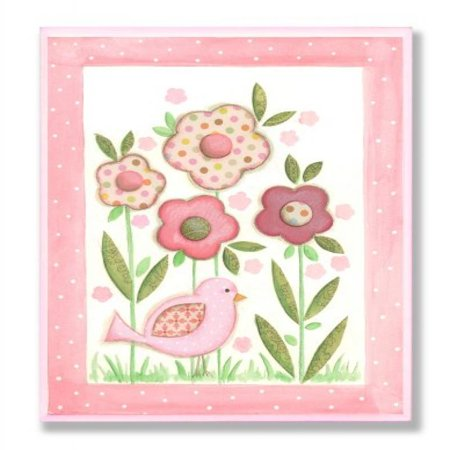 The Kids Room by Stupell Pink Patchwork Bird with Daisies Rectangle Wall Plaque