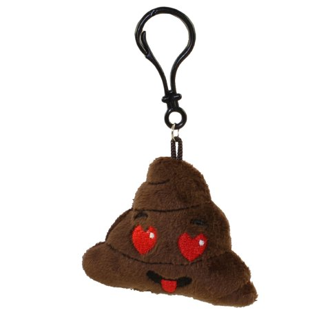 Rhode Island Novelty - Poop Emoticon Plush Key Clip - HEART EYES (2.75 inch) - Heart Emojicon