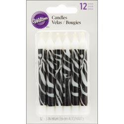 Bulk Buy: Wilton (6-Pack) Candles .25in. x 3.25in. 12/Pkg Zebra Print W11106