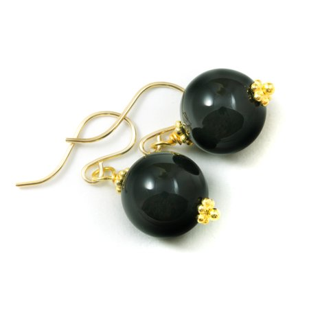 Black Onyx Earrings Round Smooth Beaded Accents 14k Gold Filled Simple Dangles