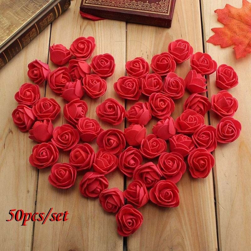 Moderna 50Pcs Mini 3.5cm Foam Roses Artificial Flower Wedding Bride Bouquet Party Decor