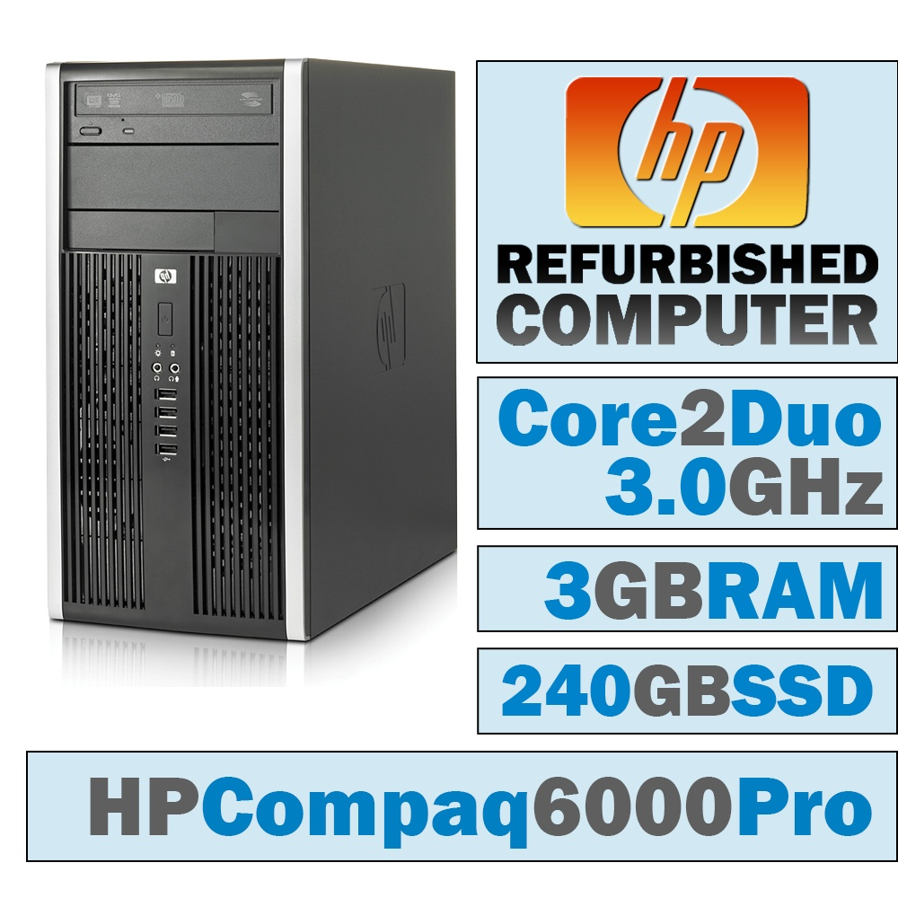 REFURBISHED HP Compaq 8000 Elite MT/Core 2 Duo E8400 @ 3.00 GHz/3GB DDR3/NEW 240GB SSD/DVD-RW/WINDOWS 7 PRO 32 BIT