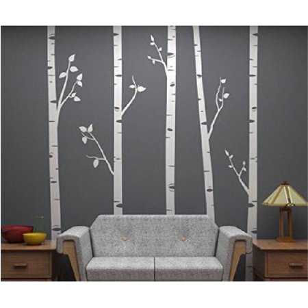 Tayyakoushi Large White Tree Wall Decal Birch Sticker For Nursery Living Room Home Decor