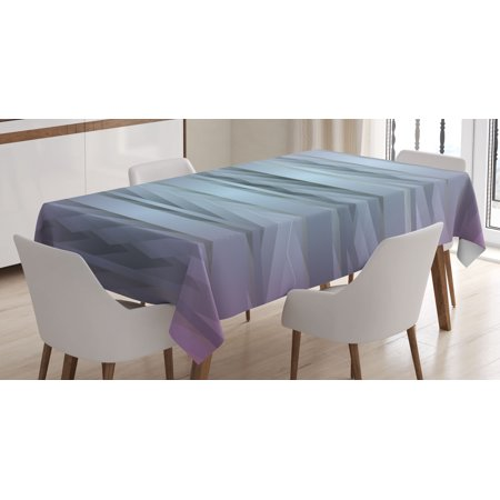 Modern Decor Tablecloth, Gradient Toned Zig Zag Retro 80s Party Style Fragmented Stripes Graphic Art, Rectangular Table Cover for Dining Room Kitchen, 52 X 70 Inches, Lilac Blue, by Ambesonne (80s Party Decor)