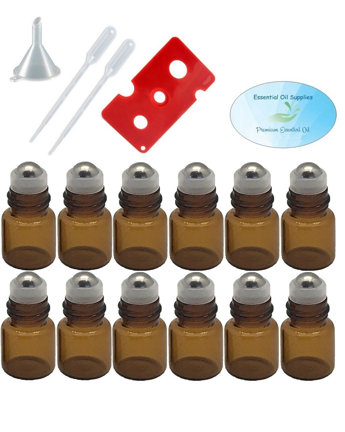 2ml Amber Glass Roller Bottles with Stainless Steel Balls (Pack of 12), Funnel, Pipettes, and Essential Oil... by