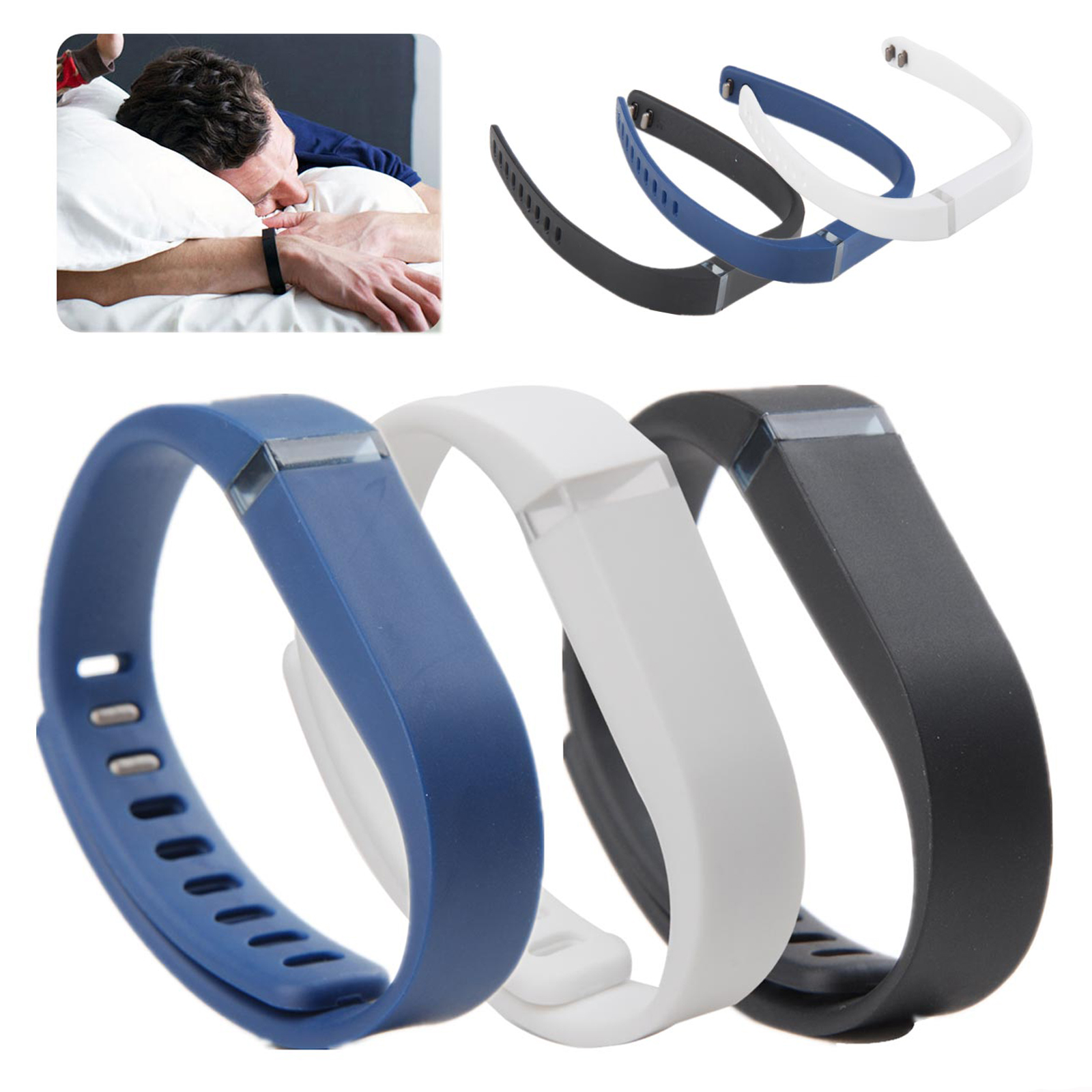 EEEKit 3 Pcs Replacement Wrist Band Clasp For Fitbit Flex Wireless Activity Sleep Wristband