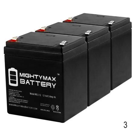 - 12V 5AH SLA Battery Replacement for ELK M1EZ8 Control Kit - 3 Pack