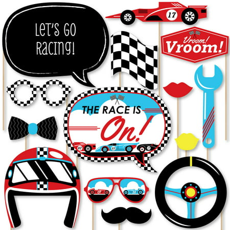 Let's Go Racing - Racecar - Baby Shower or Race Car Birthday Party Photo Booth Props Kit - 20 Count