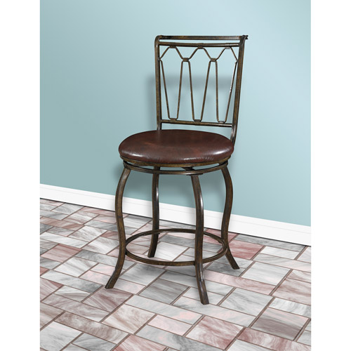 "Big and Tall Triple Cone 24"" Counter Stool, Bronze/Dark Chocolate"