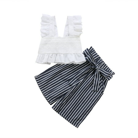 Toddler Kids Baby Girls Lace Striped Tops T-shirt Pants Outfits Set Clothes](Kids Outfit)