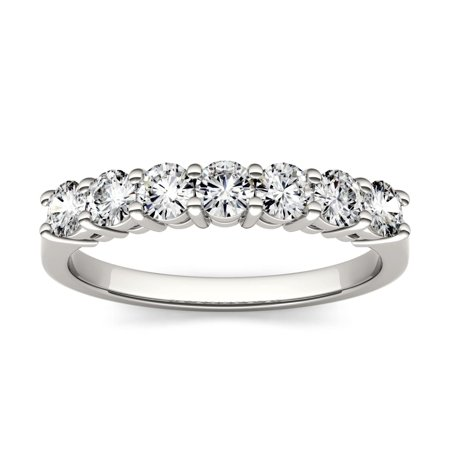 14K White Gold Moissanite Seven Stone Band 0.70 DEW