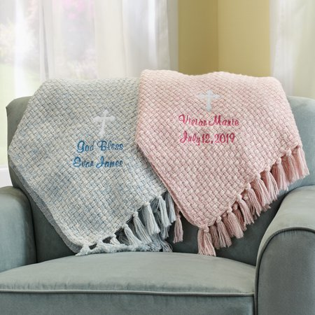 Personalized Bundled Blessings Honeycomb Blanket - Available in Pink or Blue