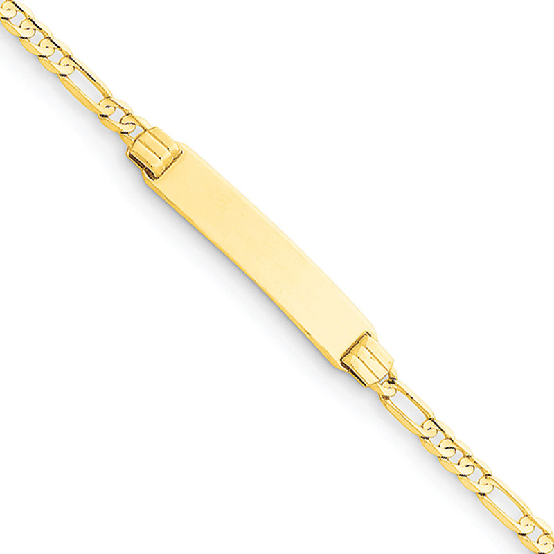 14k Yellow Gold 6 Figaro Link Child ID Bracelet