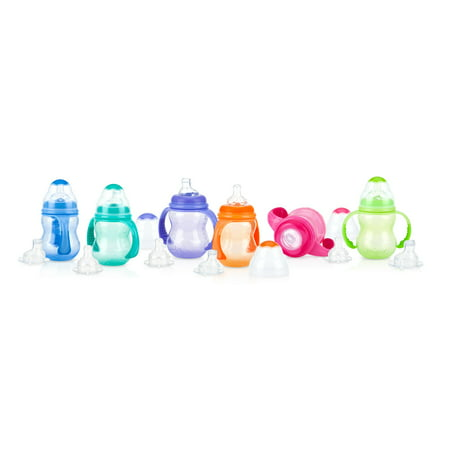 Nuby Non-Drip 3-Stage Wide Neck Bottle to Cup, 8 Ounce, Colors May