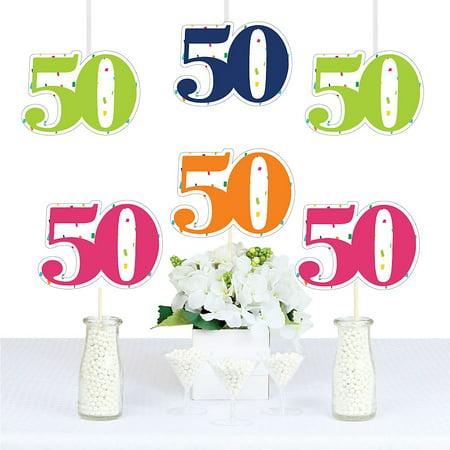50th Birthday - Cheerful Happy Birthday - Thirty Shaped Decorations DIY Colorful Fiftieth Birthday Party Essentials - Set of 20](Dirty Thirty Birthday Decorations)