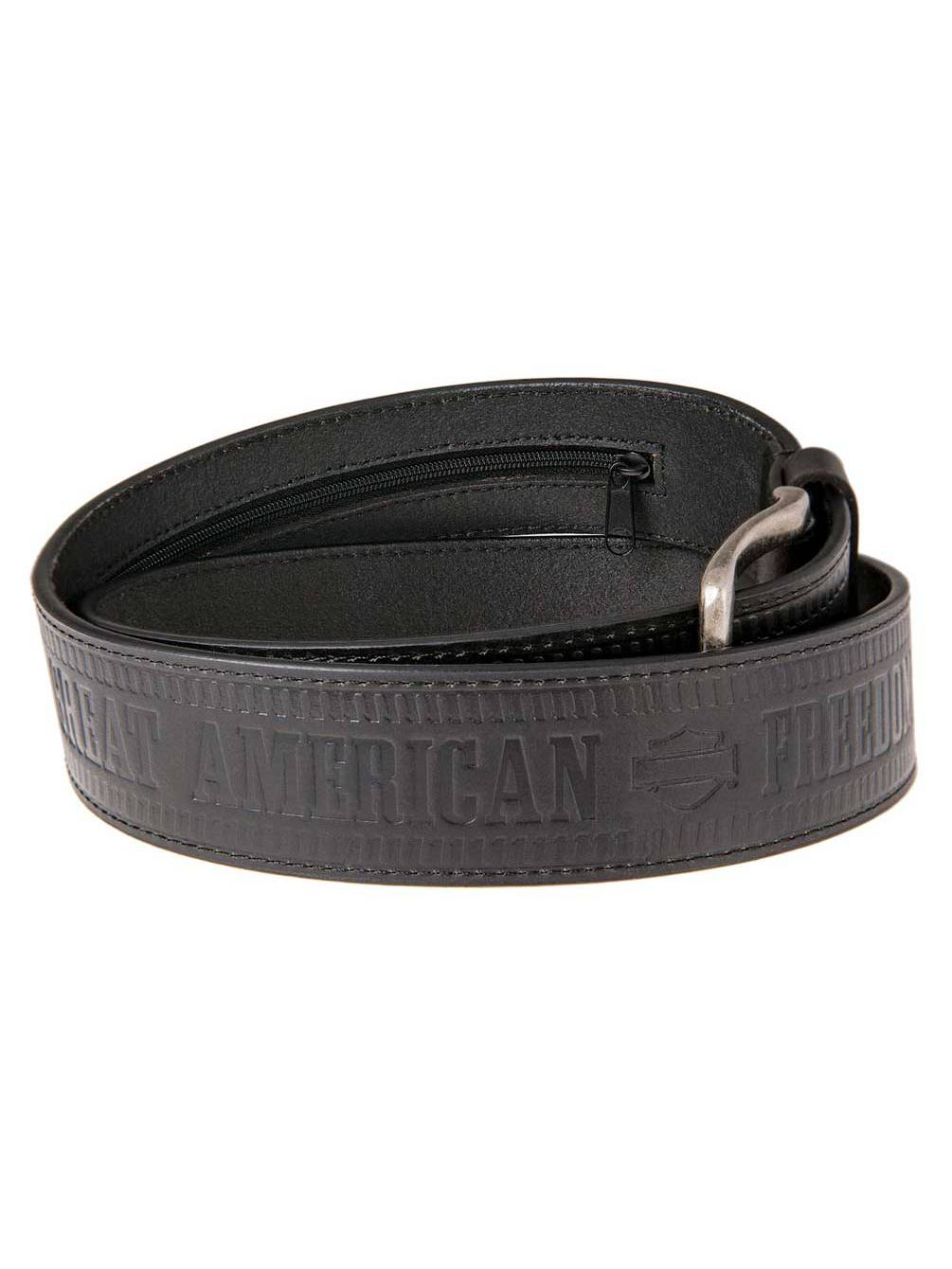 Harley-Davidson Men/'s Textured Metal Font Genuine Leather Belt HDMBT11387-BLK