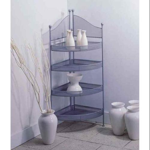 OIA Silver Metal Four Shelf Corner Unit