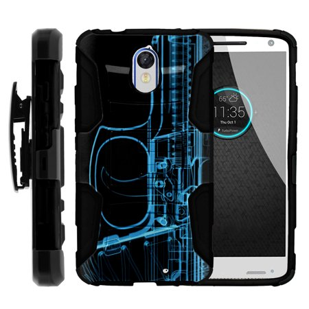 Motorola Droid Turbo 2 XT1585 Miniturtle® Clip Armor Dual Layer Case Rugged Exterior with Built in Kickstand + Holster - Tron