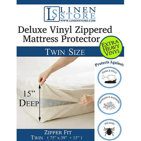 Heavy Duty PVC Vinyl Mattress Protector Cover, Hypoallergenic Waterproof Encasement, Bed Bugs - Dustmites Shield, 15 Inch Deep Pocket (Twin - 75