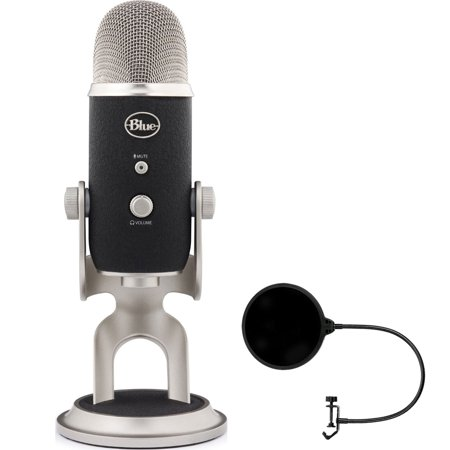 Blue Microphones Yeti Pro USB Condenser Microphone, Multipattern (BLUE-YETIPRO) with Pop Shield Universal Pop Filter Microphone Wind Screen with Mic Stand Clip