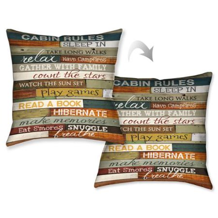 Laural Home Rules Of The Cabin Decorative 40inch Throw Pillow Impressive Cabin Decor Throw Pillows