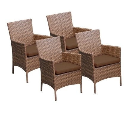 TKC Laguna Wicker Patio Arm Dining Chairs in Cocoa (Set of 4) - image 2 of 2