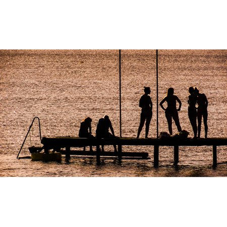 Shadow Silhouette (Canvas Print Beach Silhouette People Jetty Afternoon Shadows Stretched Canvas 10 x 14 )