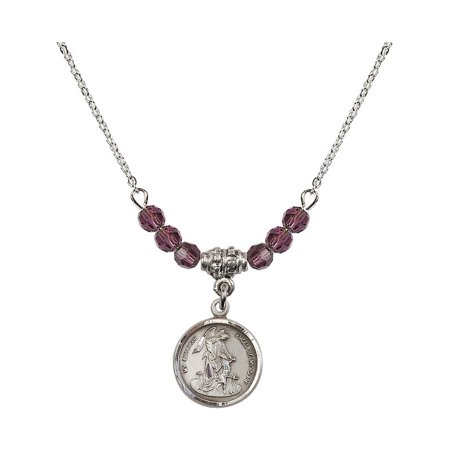 18-Inch Rhodium Plated Necklace with 4mm Purple February Birth Month Stone Beads and Guardian Angel Charm (Guardian Angel Charms For Men)