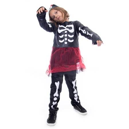 Boo! Inc. Spooky Skeleton Halloween Costume for Girls | Day of The Dead Dress Up - Skeleton Makeup For Guys