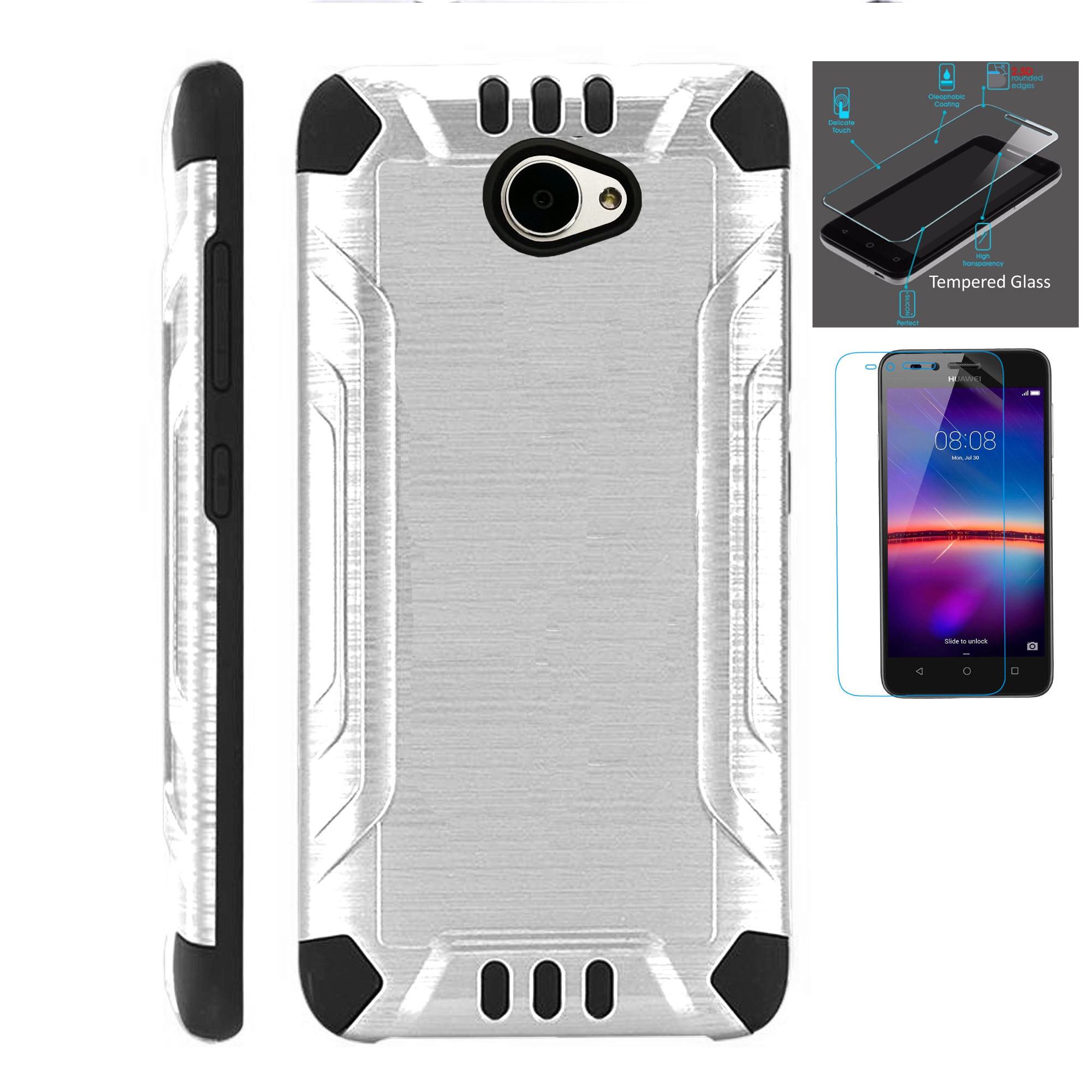 For Huawei Ascend XT2 / Huawei Ascend XT 2 / Huawei Elate 4G Case + Tempered Glass Slim Dual Layer Brushed Metal Texture Hybrid TPU Combat Phone Cover (Silver/Black)