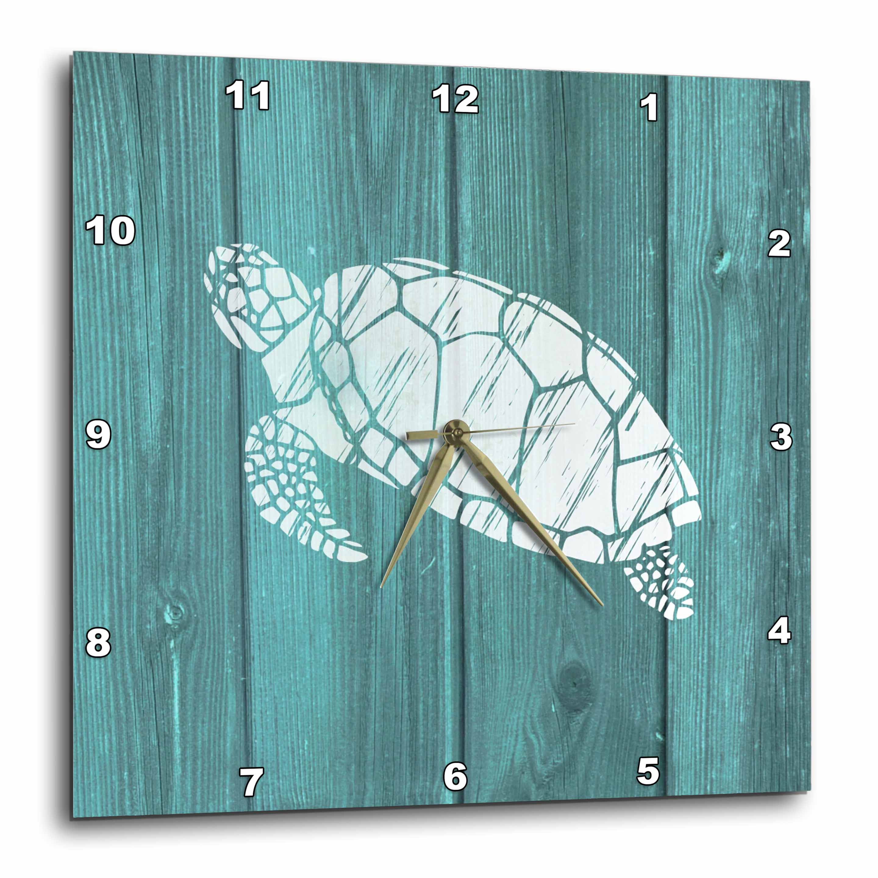 3dRose Turtle Stencil in White over Teal Weatherboard- not real wood, Wall Clock, 10 by 10-inch by 3dRose