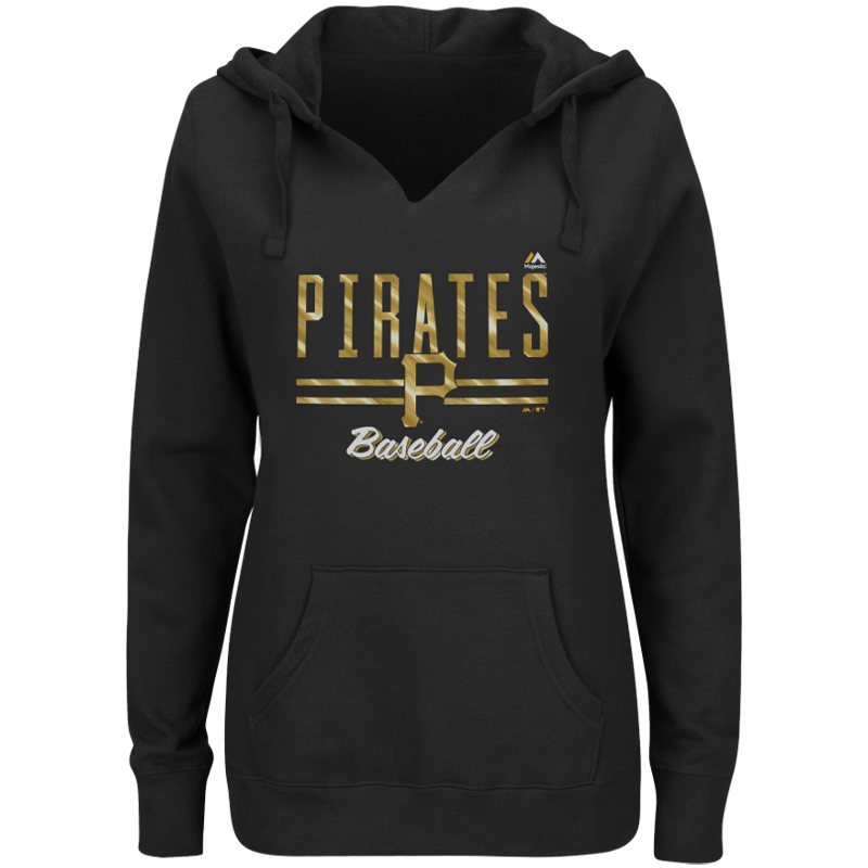 Pittsburgh Pirates Majestic Women's Prepare to Dazzle V-Notch Pullover Hoodie - Black