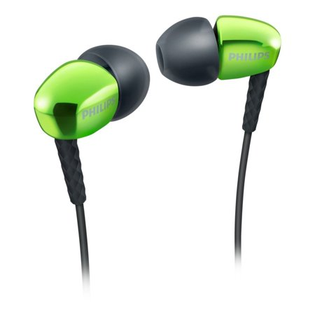 PHILIPS Green SHE 3900 gn 3.5mm Connector Premium In Ear Headphone W/softcaps and Great Bass Phillips Ear Headphones