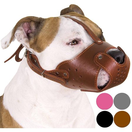 - Dog Muzzle German Shepherd Leather Secure Basket Black