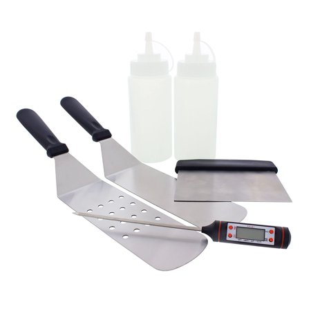 Yukon Glory 6 Piece Griddle BBQ Tool Kit - 2 Spatulas, 1 Chopper Scrapper, Meat Thermometer and 2 Bottles - Great for Flat Top Cooking, Camping and Tailgating - Tailgating Supplies