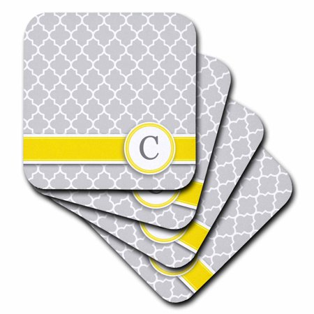 3dRose Your personal name initial letter C - monogrammed grey quatrefoil pattern - personalized yellow gray, Soft Coasters, set of 4