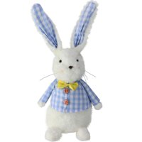 """13.5"""" Plush White Boy Rabbit in Blue and White Check Coat Easter Decoration"""