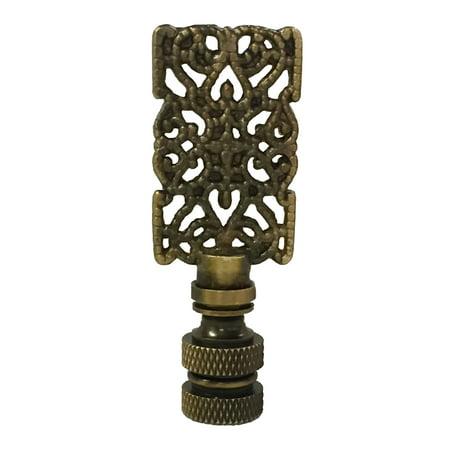 Royal Designs Rectangle Center Cross Filigree Lamp Finial for Lamp Shade- Antique Brass ()