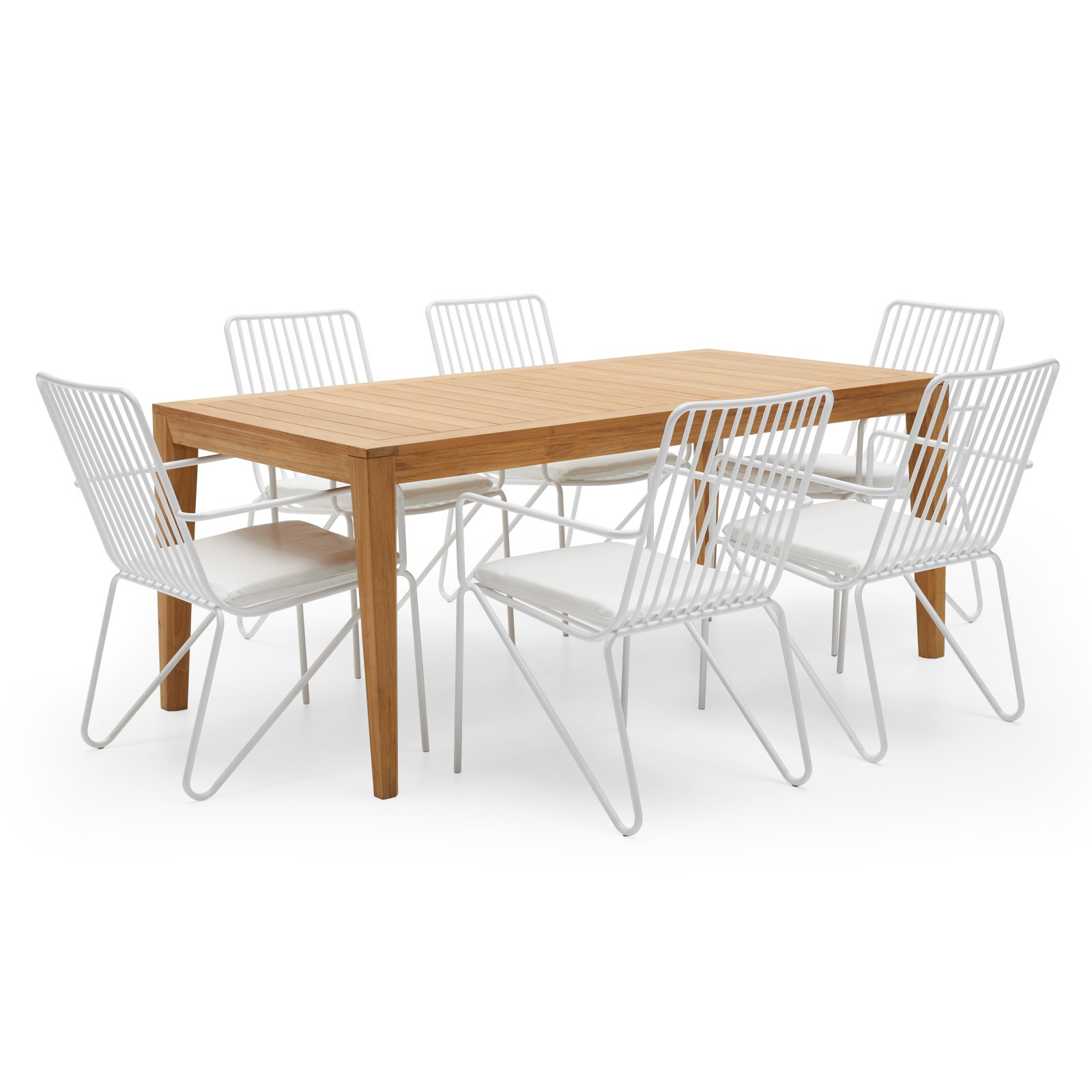 MoDRN Industrial Teak and Wire 7 Piece Patio Dining Room Set by