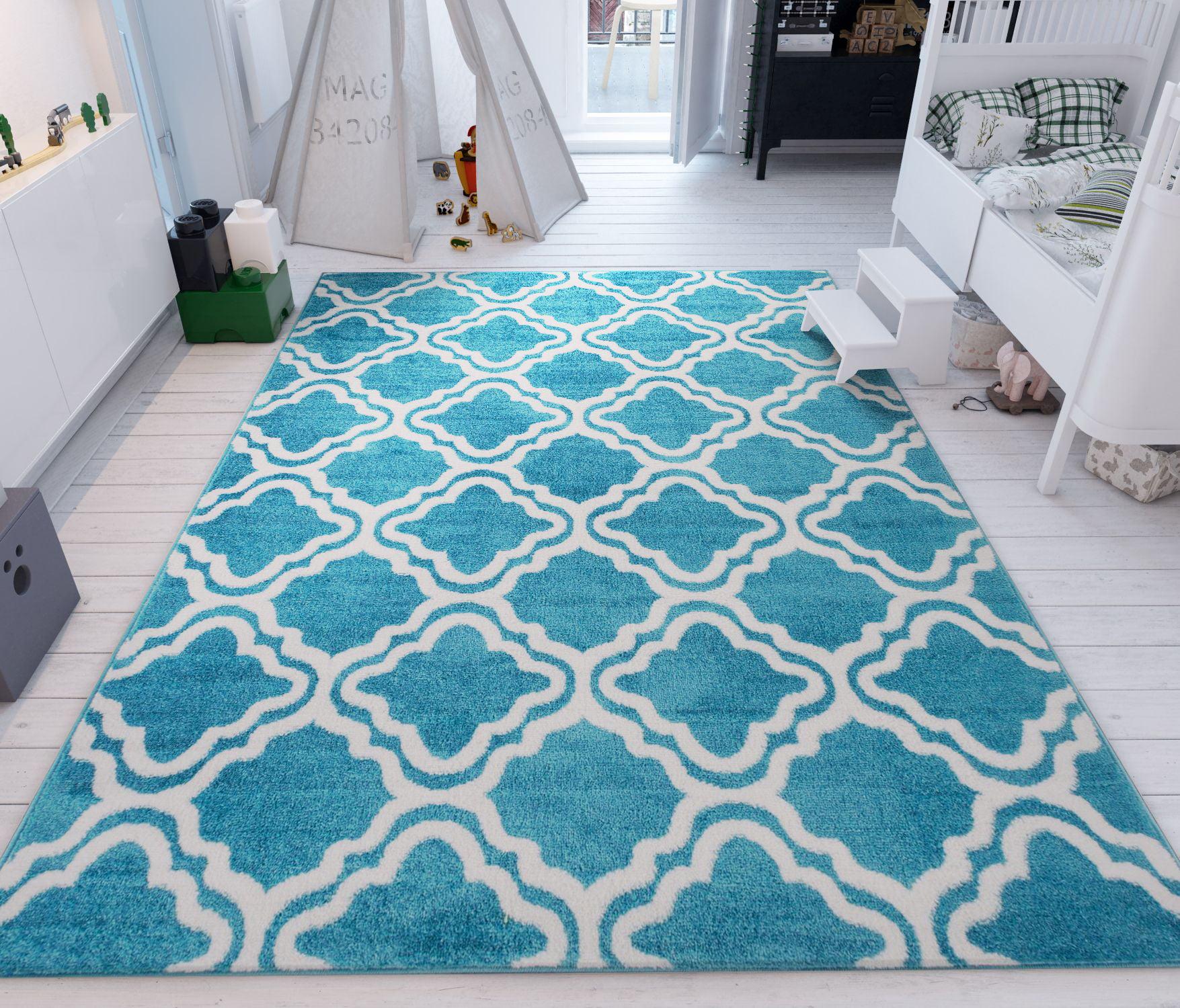 modern rug calipso blue 5'x7' lattice trellis accent area