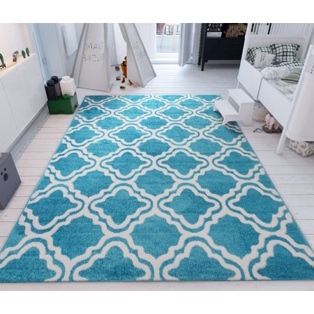 modern rug calipso blue 5 39 x7 39 lattice trellis accent area rug entry way bright kids room kitchn. Black Bedroom Furniture Sets. Home Design Ideas