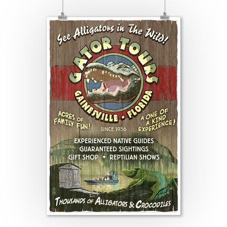 Gainesville, Florida - Gator Tours - Vintage Sign - Lantern Press Poster (9x12 Art Print, Wall Decor Travel Poster)