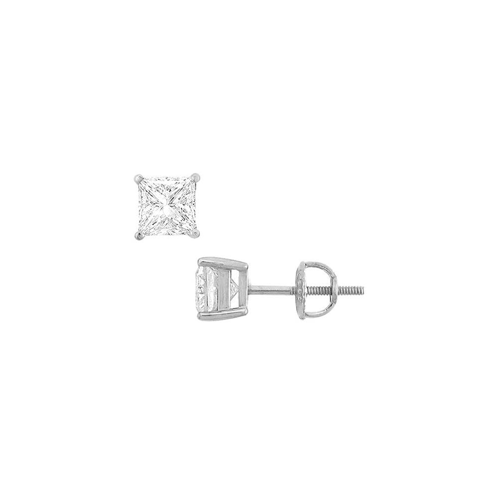 14K White Gold Princess Cubic Zirconia Stud Earrings 3.00 CT. TGW. - image 3 of 3