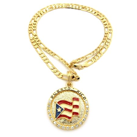 """Flag of Puerto Rico Pride Rhinestone Medal Pendant 24"""" Various Chain Necklace in Gold, Silver Tone"""