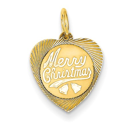 ICE CARATS 14kt Yellow Gold Merry Christmas Heart Disc Pendant Charm Necklace Holiday Fine Jewelry Ideal Gifts For Women Gift Set From Heart - Christmas Jewelry Ideas