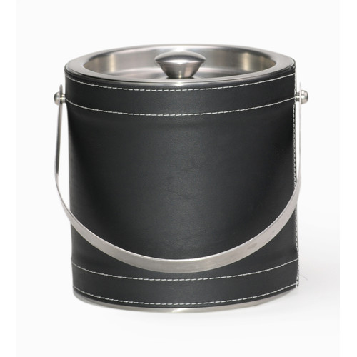 Mr Ice Bucket Stainless Steel with Leatherette Stitch 3 Quart Ice Bucket