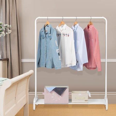 LANGRIA Clothing Garment Rack Heavy Duty Commercial Grade Clothes Stand Rack with Top Rod and Lower Storage Shelf for Boxes Shoes Boots 45.7 x 15.7 x 57.1 inches, White