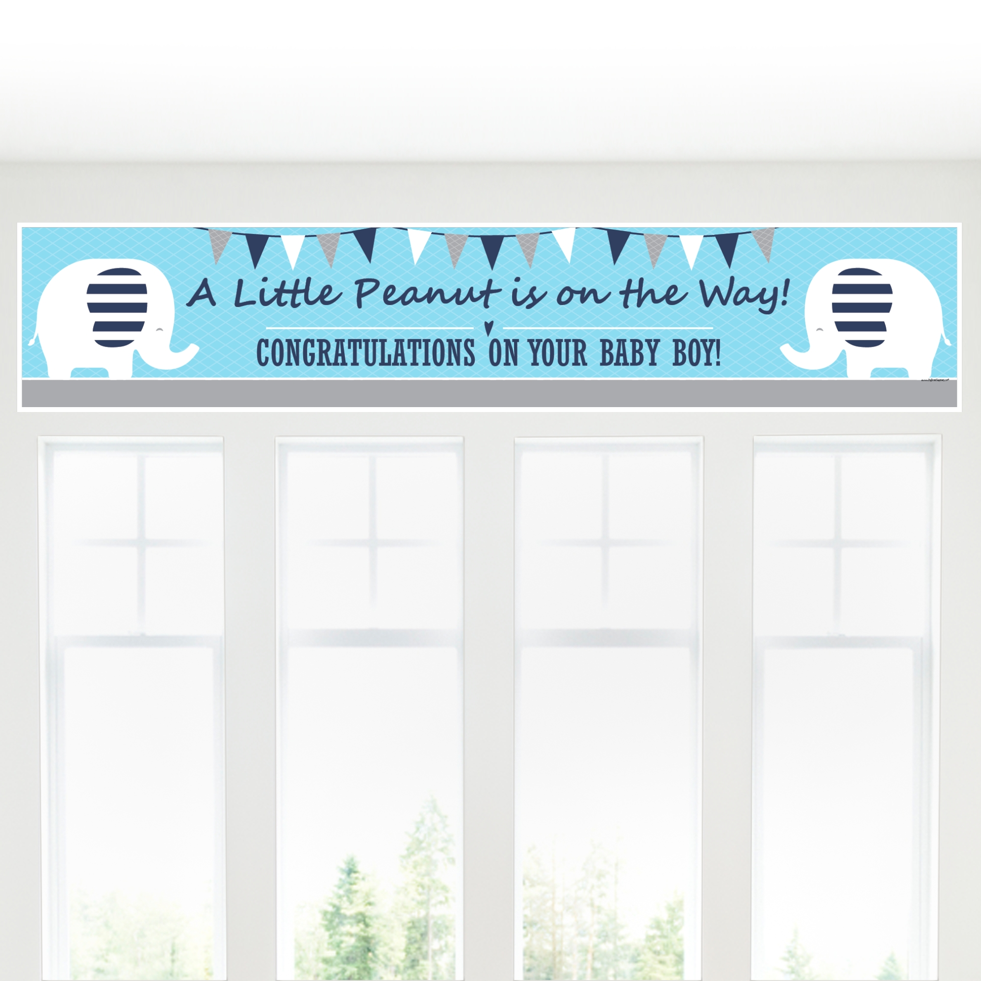 Blue Elephant - Boy Baby Shower Decorations Party Banner