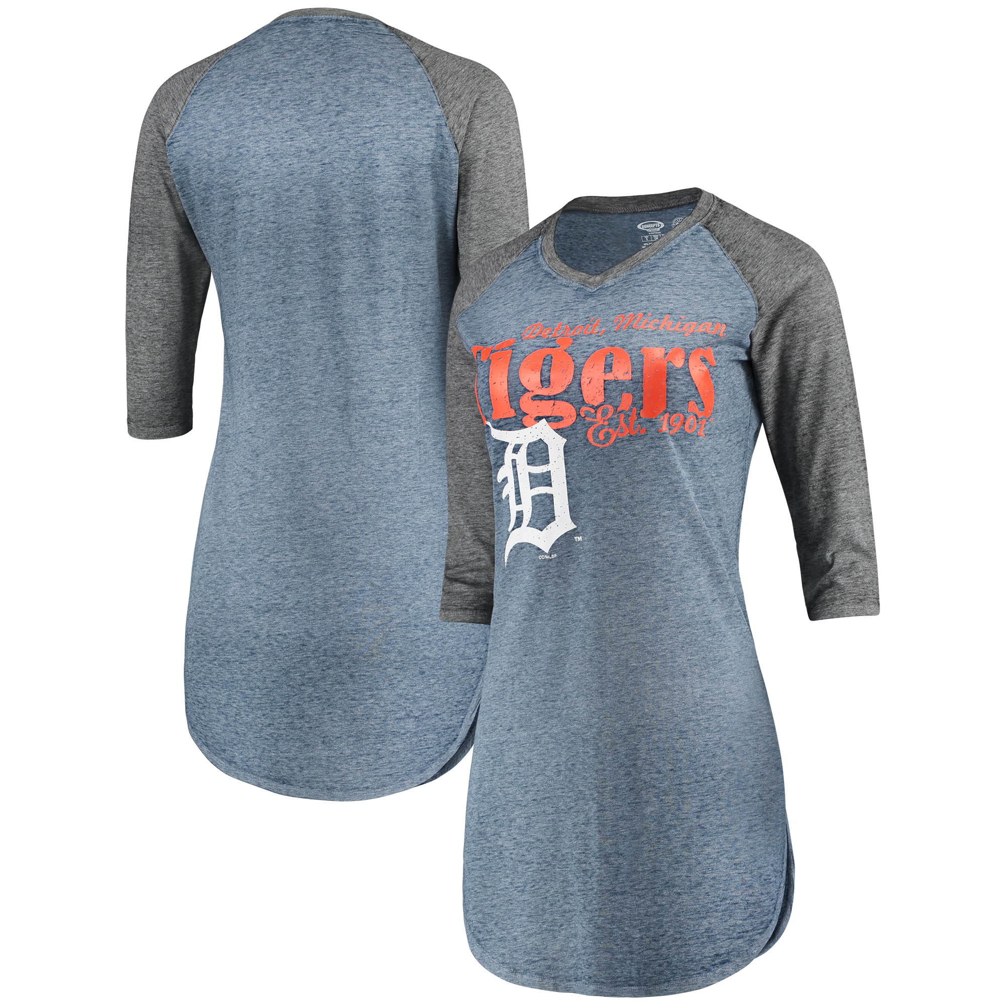 Detroit Tigers Concepts Sport Women's Deed Raglan Nightshirt - Heathered Navy